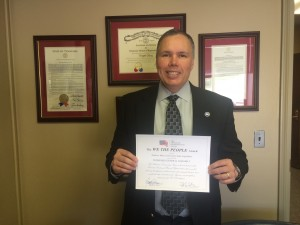 Rep. Bryan Terry receives certificate from ACU for most Conservative State in America